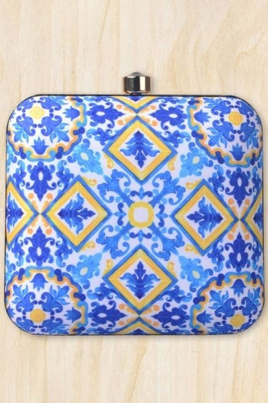 Pearl White and Blue Imported Printed Box Clutch