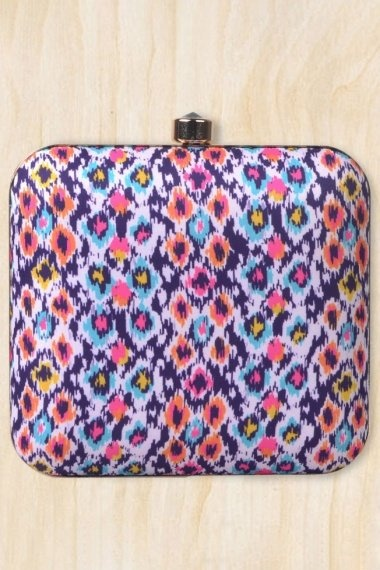 Purple and White Imported Printed Box Clutch