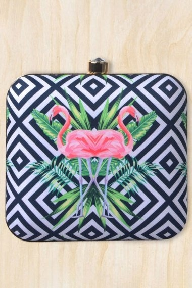 Black and White Imported Printed Box Clutch