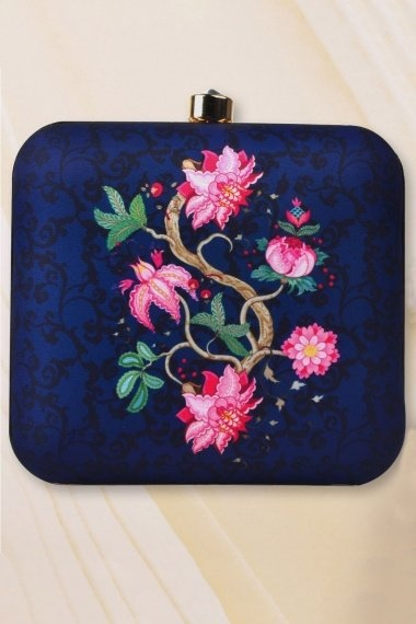 Navy Blue Imported Printed Clutch