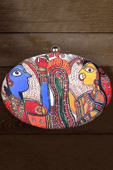 Multi Colored Imported Printed Box Clutch