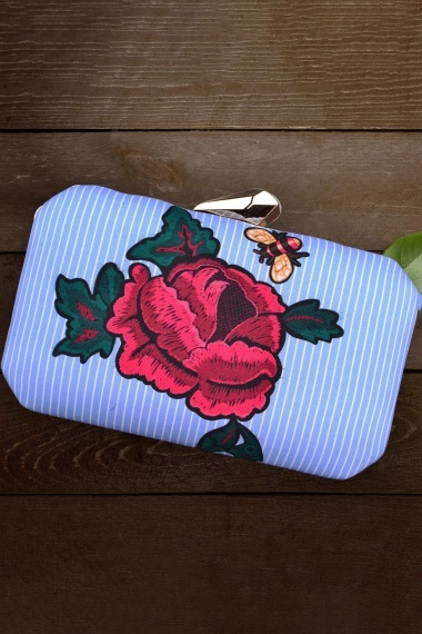 Sky Blue Imported Printed Box Clutch with Floral Motif