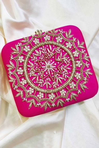 Pink Synthetic Box Clutch with Handwork