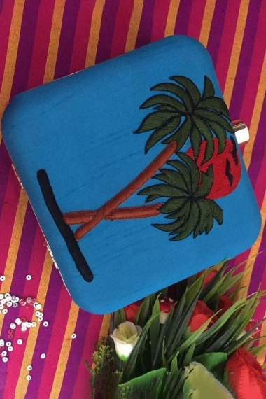 Blue Synthetic Box Clutch with Embroidery