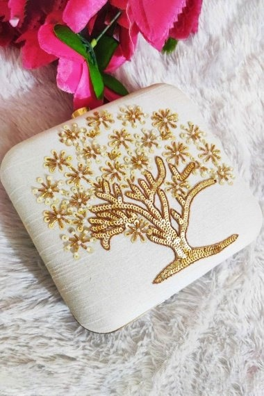 Pearl White Synthetic Box Clutch with Sequins