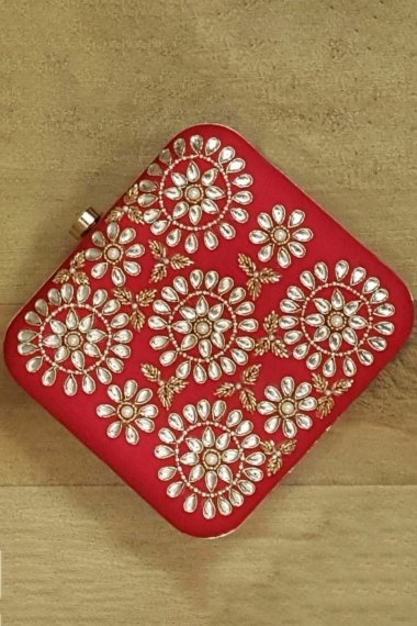 Red Synthetic Clutch with Stone Work