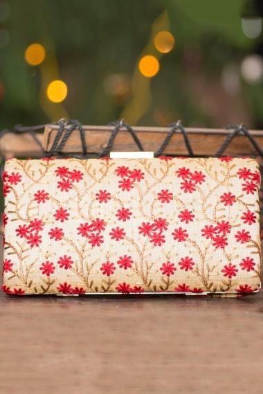 Cream Polyester Silk All Over Embroidered Clutch