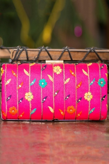 Magenta Polyester Silk Floral Embroidered Clutch
