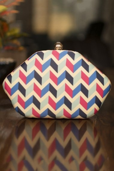 Off White and Multi Colored Hexagon Shaped Zigzag Digital Printed Box Clutch