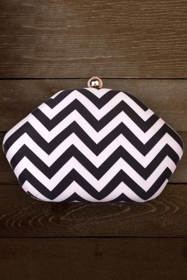Off White and Black Hexagon Shaped Zigzag Digital Printed Box Clutch