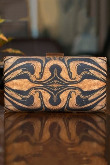 Black and Golden Shaded Digital Printed Box Clutch