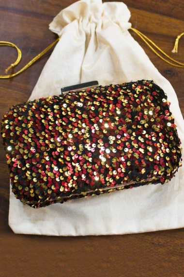 Red and Golden Sequins Worked Party Wear Box Clutch