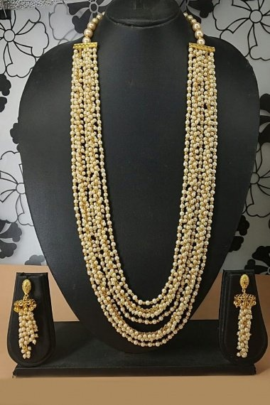 Pearl White Golden Layered Mala Necklace Set
