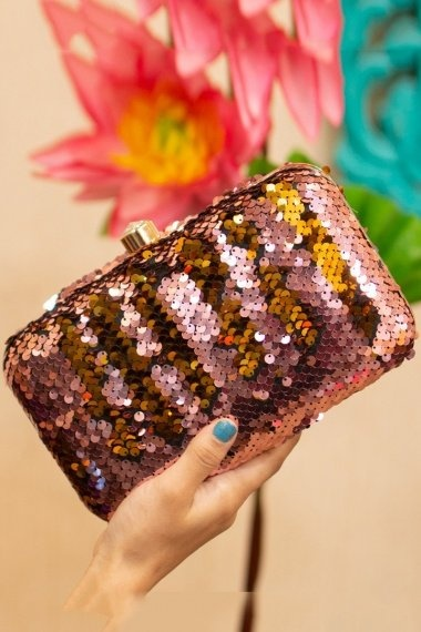 Rose Taupe Sequins Worked Party Wear Box Clutch