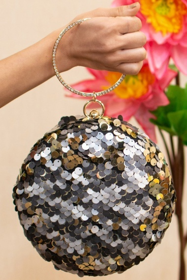 Silver Sequins Worked Round Shaped Clutch