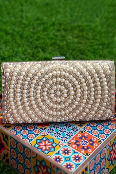 Synthetic Pearl and Stone Work Hand Box Clutch