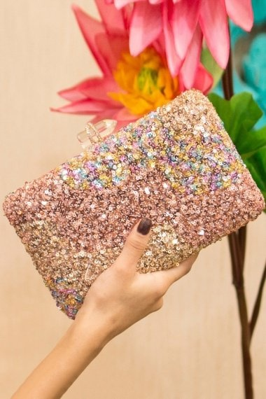 Synthetic Hand Box Clutch with Sequins Work