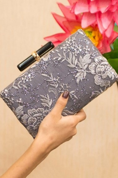 Grey Embroidered Hand Box Clutch