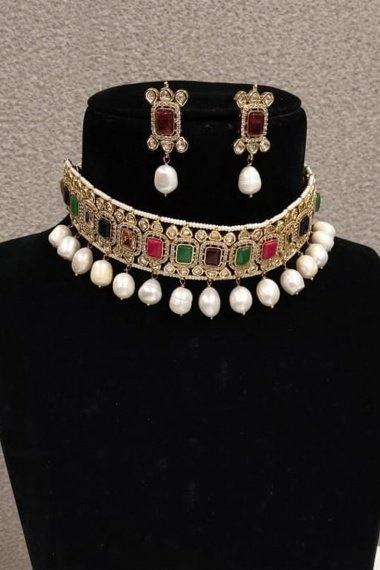 High Gold Plated Handmade Choker Neckalce Set with Multi Colored Stone and Original Silver Polki