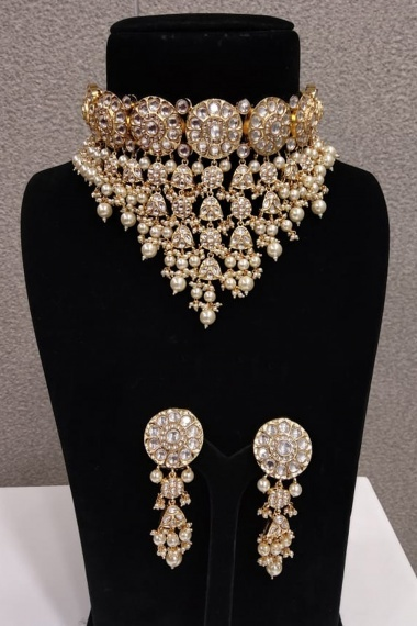 High Gold Plated Designer Handmade Original Silver Polki Choker Necklace Set with Pearls