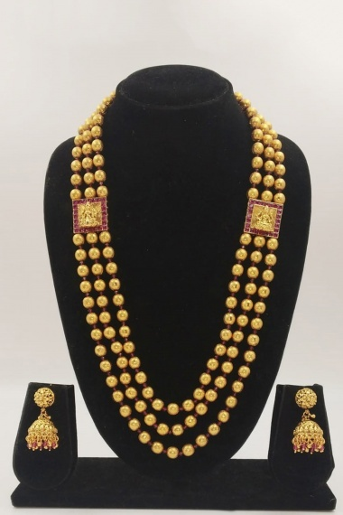 Gold Plated Layered Beads Chain Necklace Set with Lakshmiji Brooch