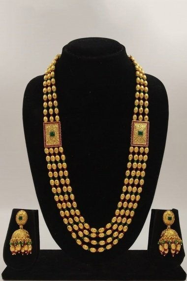 Gold Plated Layered Beads Chain Necklace Set
