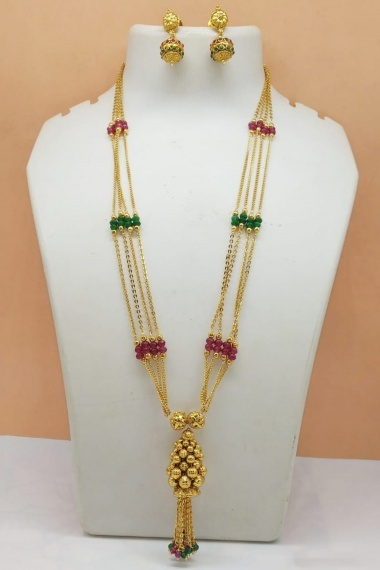 Golden Brass Chain Tasselled Necklace with Green and Maroon Beads