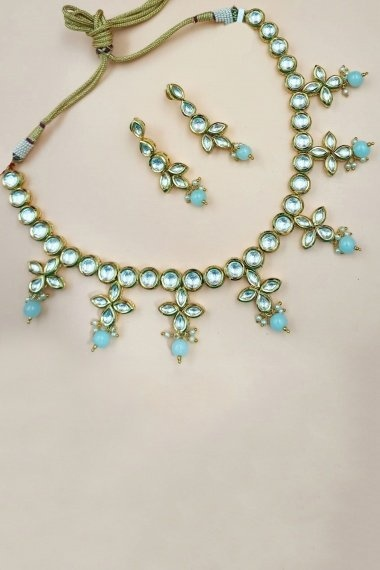 Golden Copper Kundan Necklace Set with Pearls