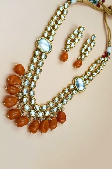 Gold Plated Kundan Long Necklace Set with Pearls