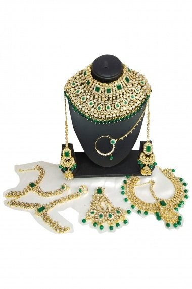 Golden Copper Bridal Kundan Necklace Set with Green Pearls