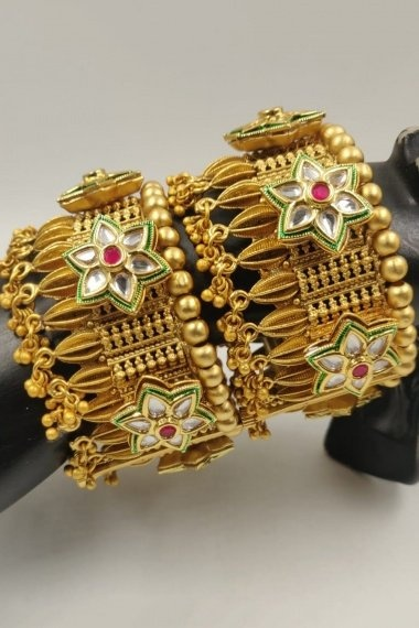 Gold Plated Openable Kada with Flower Motifs
