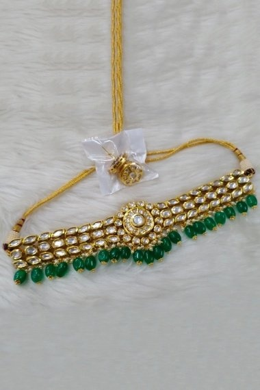 Golden Kundan Necklace Set with Green Pearls