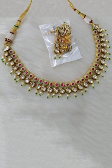 Sea Green and Golden Necklace Set with Kundan
