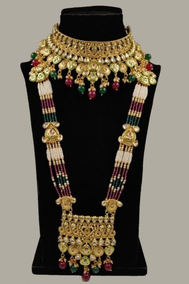 Golden Copper Kundan and Pearl Necklace Set