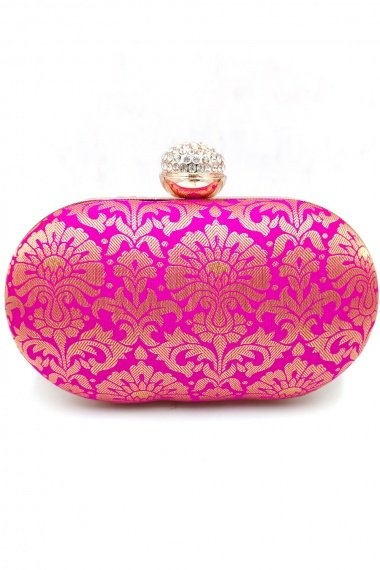 Magenta Imported Woven Box Clutch