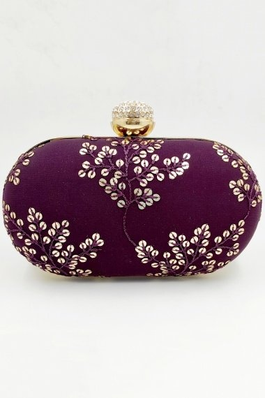 Purple Synthetic Sequins Worked Box Clutch