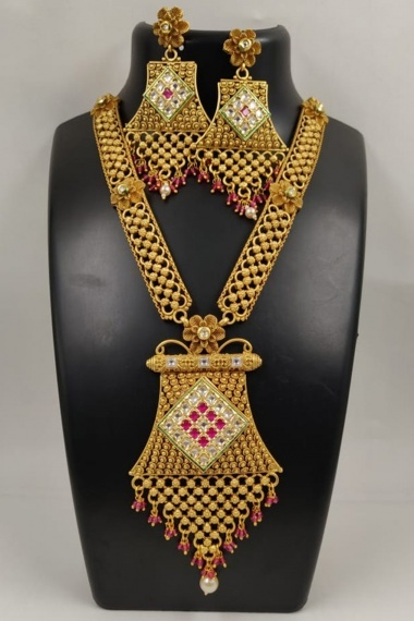 Gold Plated Necklace with Pink Stone