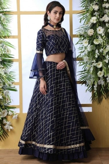 Navy Blue Net Flared Sequins Worked Designer Lehenga Choli with Layered Bell Sleeves