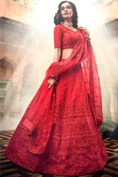 Red Net All Over Embroidered Bridal Lehenga Choli with Stone Work
