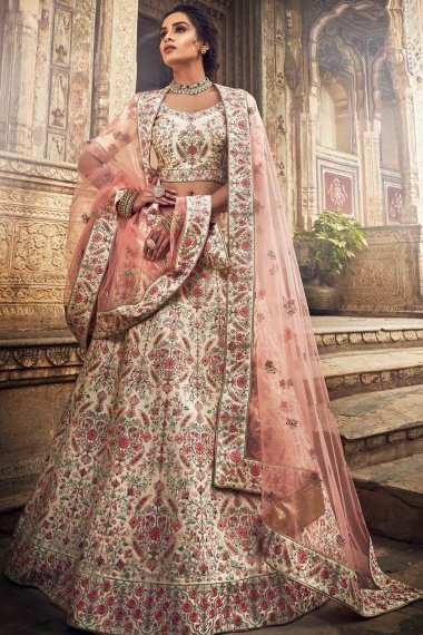 Off White Art Silk All Over Multi Colored Embroidered Designer Lehenga Choli with Stone Work