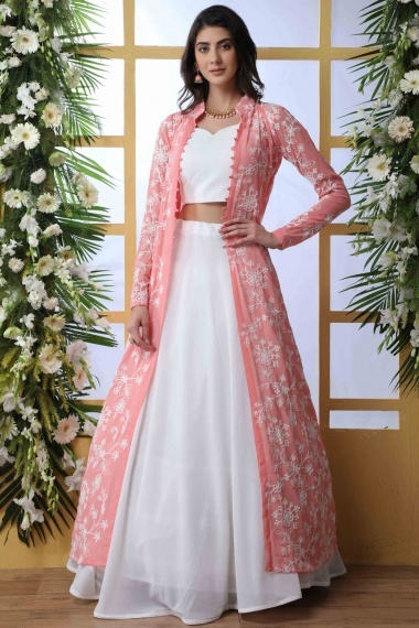 Pearl White Georgette Designer Lehenga Choli with Thread Embroidered Long Jacket