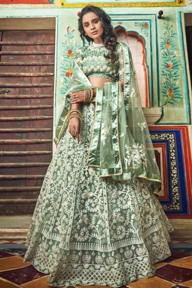 Sage Green Net Designer Lehenga Choli with Paisley and Floral Embroidery