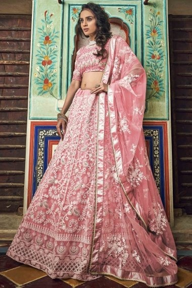 Light Pink Net Designer Lehenga Choli with Paisley and Floral Embroidery