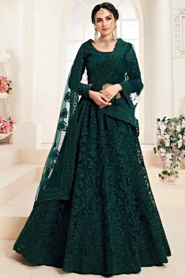 Bottle Green Net Designer All Over Embroidery and Stone Worked Lehenga Choli