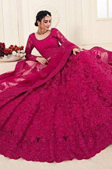 Pink Net All Over Floral Embroidered Lehenga Choli with Stone