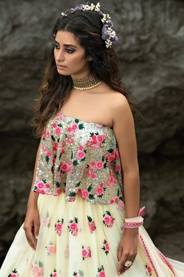 Off White Net Designer Floral Embroidered Lehenga Choli with Sequins Work
