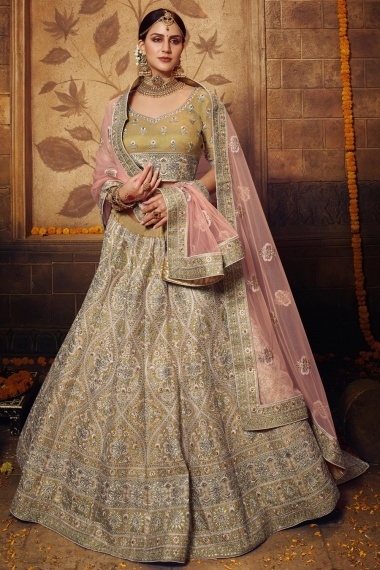 Olive Green Net Designer Lehenga Choli with All Over Embroidery