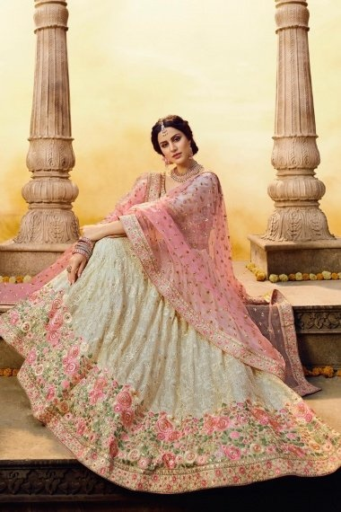 Off White Georgette Stone Worked Designer Lehenga Choli with Floral Embroidery