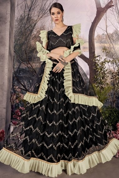 Black Net Sequins Worked Flared Lehenga Choli with Contrast Frill Border
