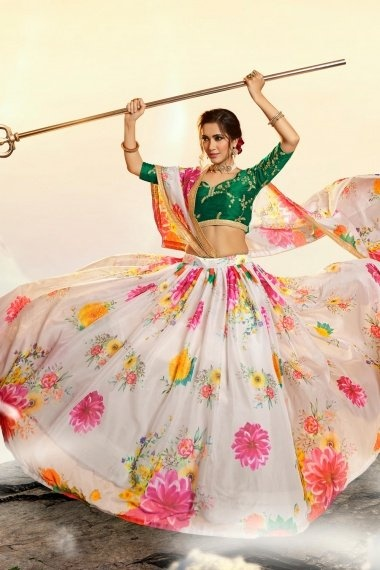 Off White Organza Digital Floral Printed Lehenga with Embroidered Blouse